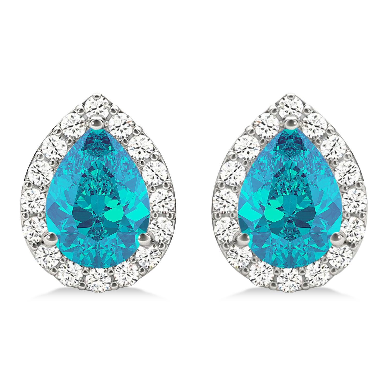 Teardrop Cut Blue & White Diamond Halo Earrings 14k White Gold (1.66ct)