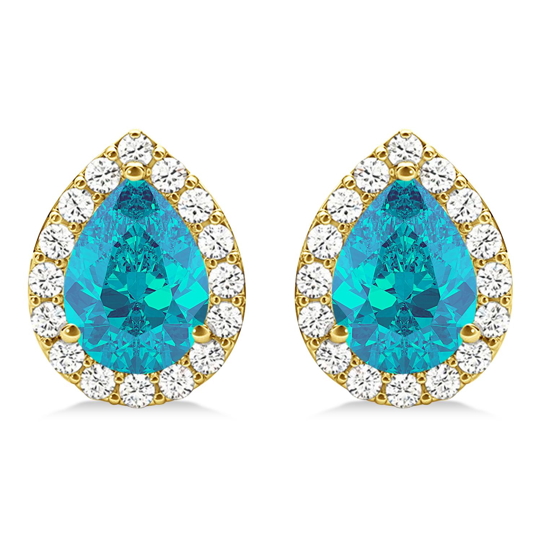Teardrop Cut Blue & White Diamond Halo Earrings 14k Yellow Gold (1.66ct)