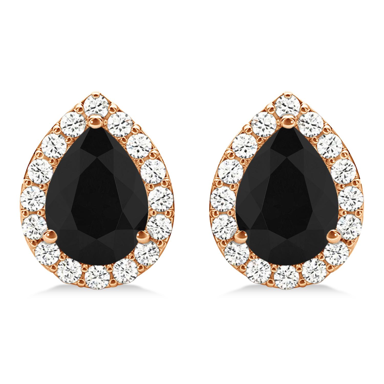 Teardrop Cut Black & White Diamond Halo Earrings 14k Rose Gold (1.66ct)