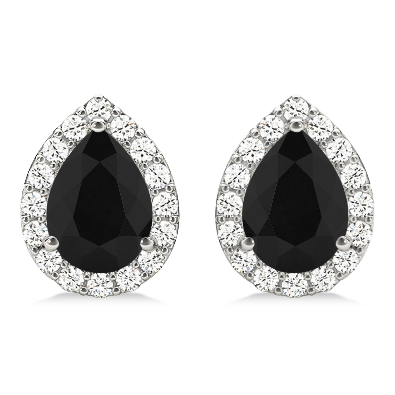 Teardrop Cut Black & White Diamond Halo Earrings 14k White Gold (1.66ct)
