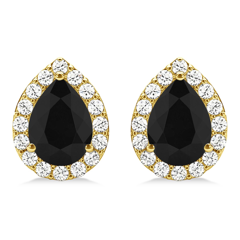 Teardrop Cut Black & White Diamond Halo Earrings 14k Yellow Gold (1.66ct)