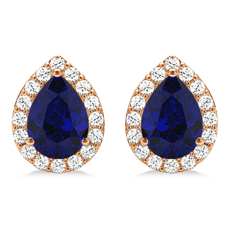 Teardrop Blue Sapphire & Diamond Halo Earrings 14k Rose Gold (1.74ct)