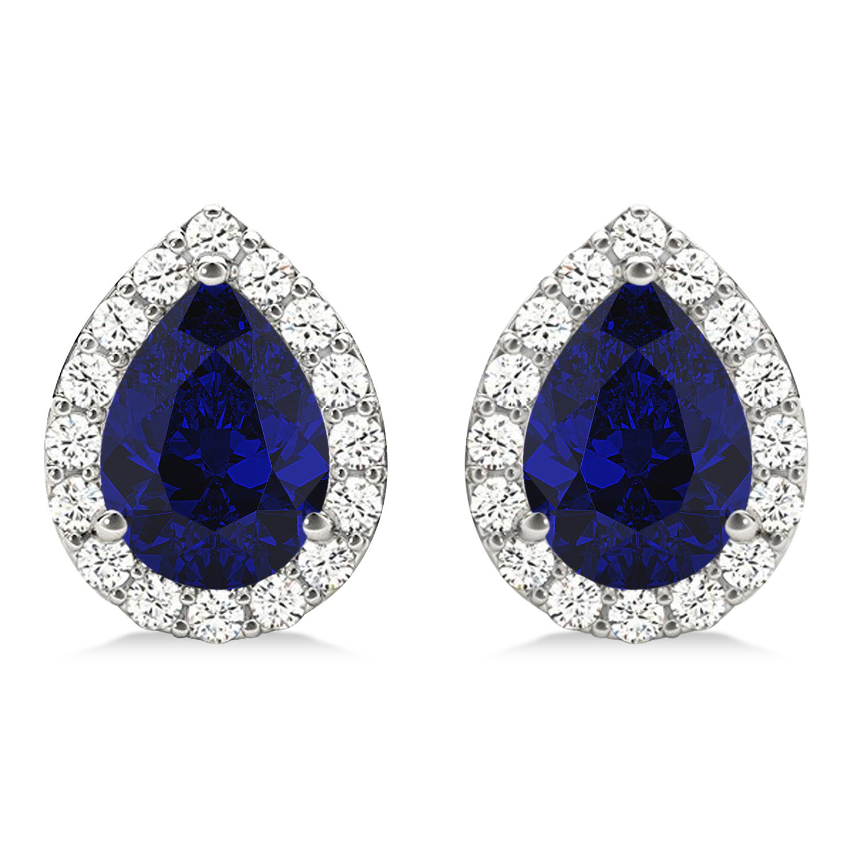 Teardrop Blue Sapphire & Diamond Halo Earrings 14k White Gold (1.74ct)