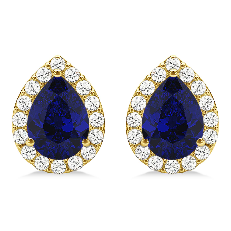 Teardrop Blue Sapphire & Diamond Halo Earrings 14k Yellow Gold (1.74ct)