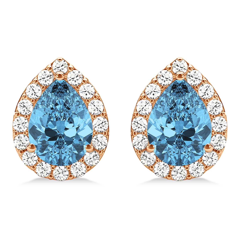 Teardrop Blue Topaz & Diamond Halo Earrings 14k Rose Gold (2.24ct)