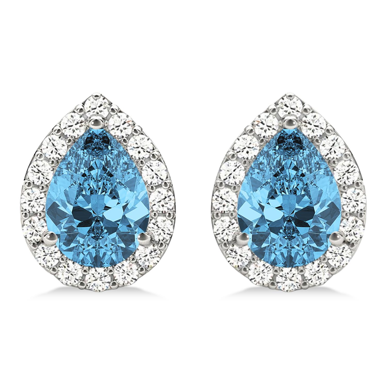 Teardrop Blue Topaz & Diamond Halo Earrings 14k White Gold (2.24ct)