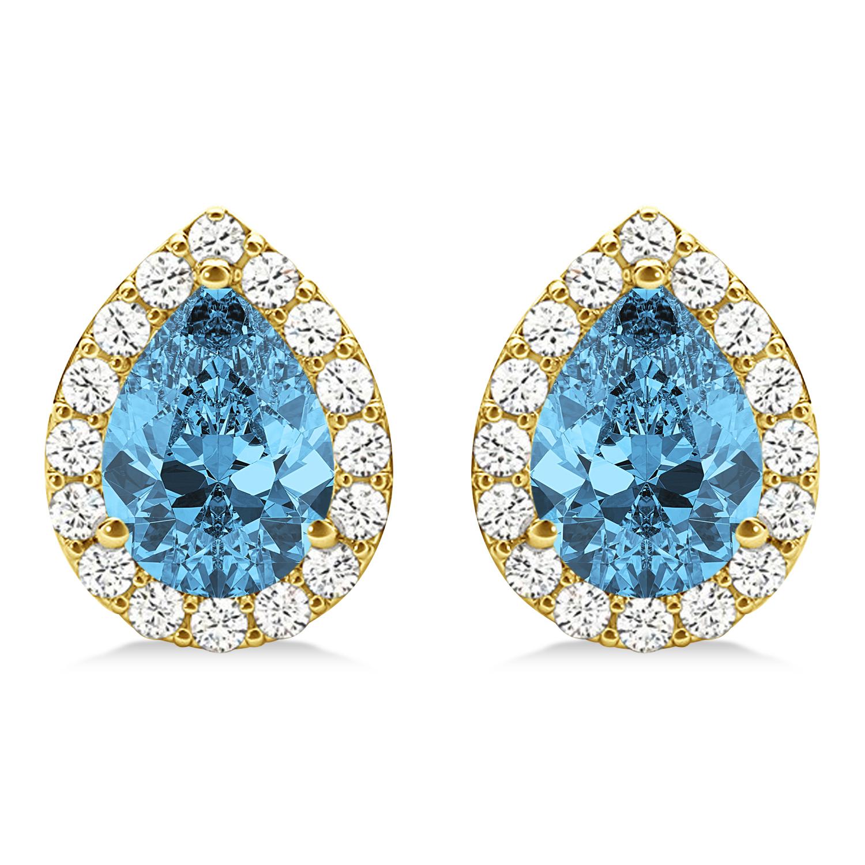Teardrop Blue Topaz & Diamond Halo Earrings 14k Yellow Gold (2.24ct)