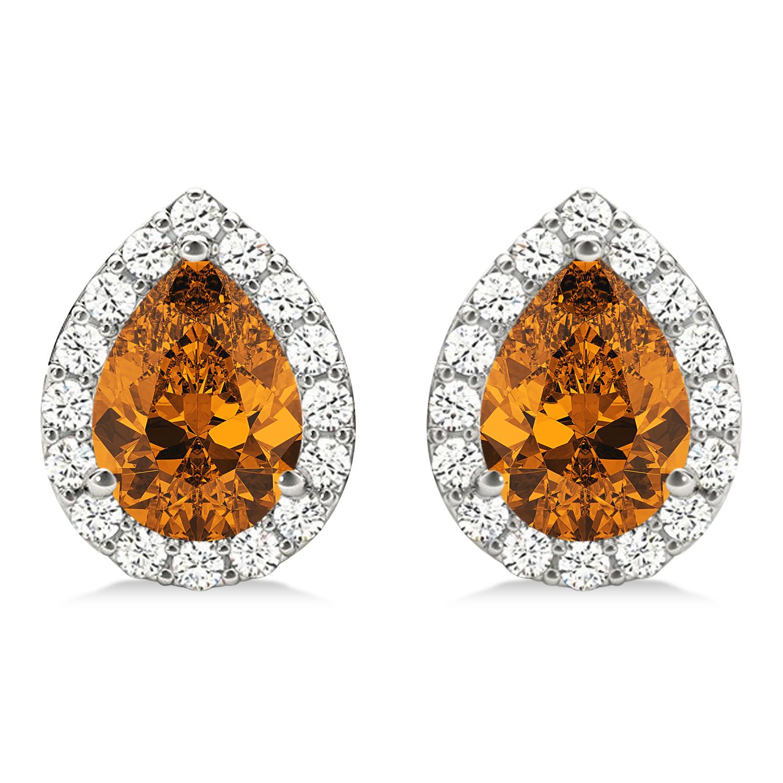Teardrop Citrine & Diamond Halo Earrings 14k White Gold (1.54ct)