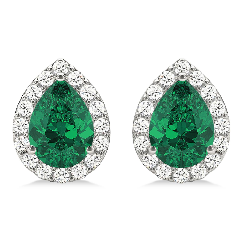 Teardrop Emerald & Diamond Halo Earrings 14k White Gold (1.64ct)