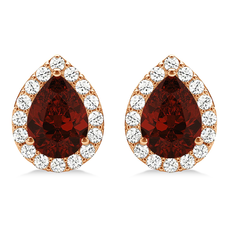 Teardrop Garnet & Diamond Halo Earrings 14k Rose Gold (2.24ct)