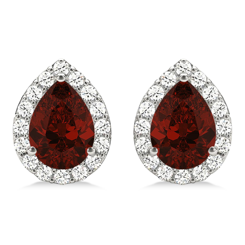 Teardrop Garnet & Diamond Halo Earrings 14k White Gold (2.24ct)