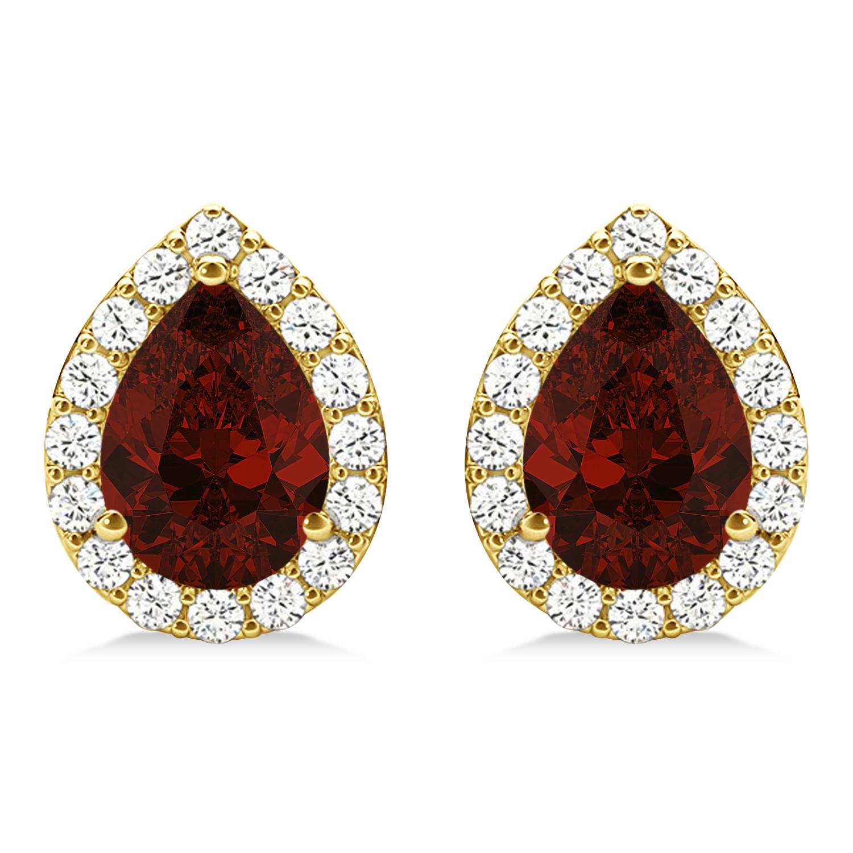 Teardrop Garnet & Diamond Halo Earrings 14k Yellow Gold (2.24ct)