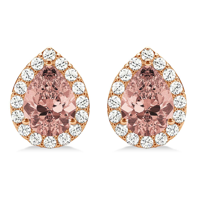 Teardrop Cut Morganite & Diamond Halo Earrings 14k Rose Gold (2.04ct)