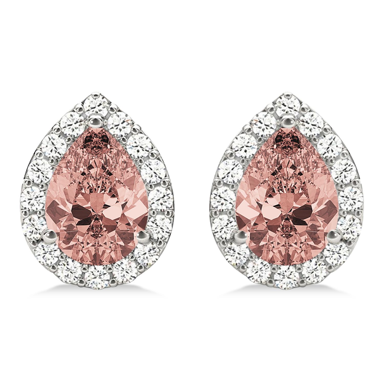 Teardrop Cut Morganite & Diamond Halo Earrings 14k White Gold (2.04ct)