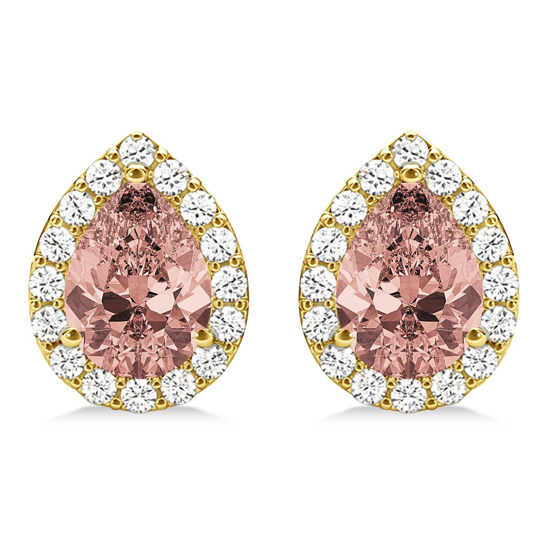 Teardrop Cut Morganite & Diamond Halo Earrings 14k Yellow Gold (2.04ct)