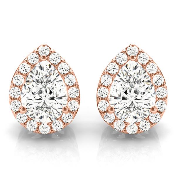 Teardrop Moissanite & Diamond Halo Earrings 14k Rose Gold (1.66ct)