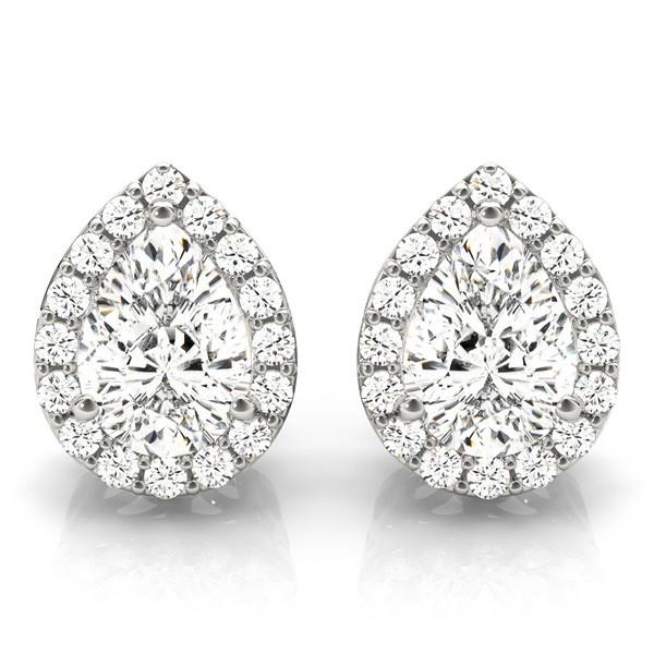 Teardrop Moissanite & Diamond Halo Earrings 14k White Gold (1.66ct)