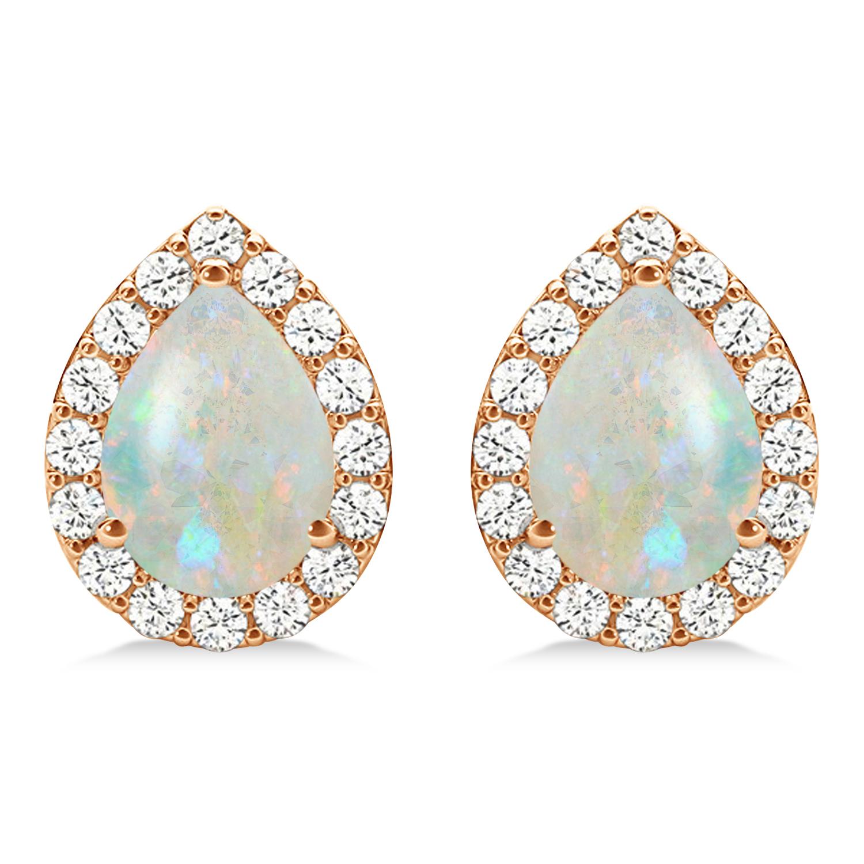 Teardrop Opal & Diamond Halo Earrings 14k Rose Gold (0.94ct)