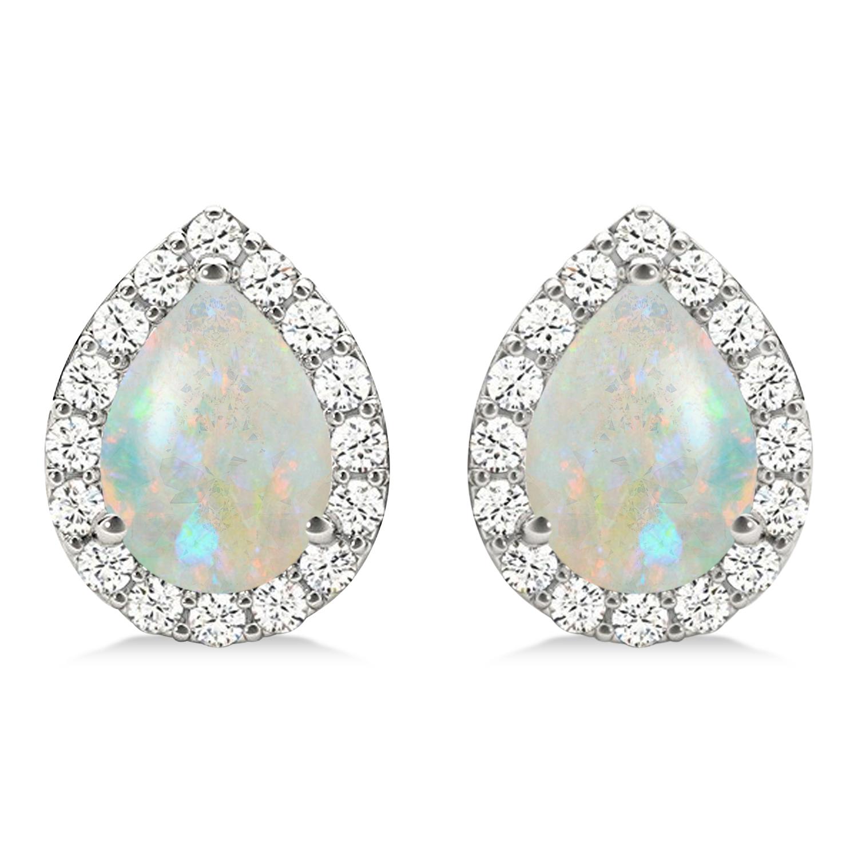 Teardrop Opal & Diamond Halo Earrings 14k White Gold (0.94ct)