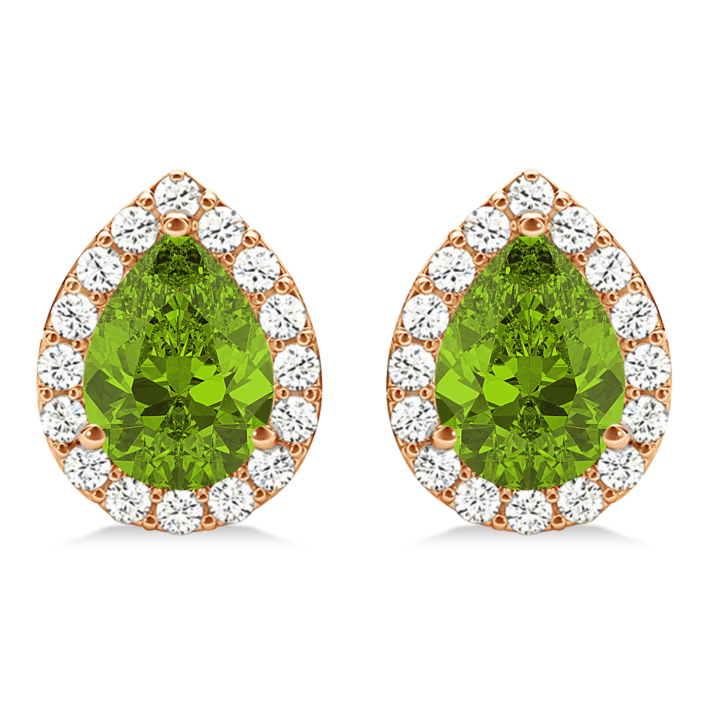 Teardrop Peridot & Diamond Halo Earrings 14k Rose Gold (1.64ct)
