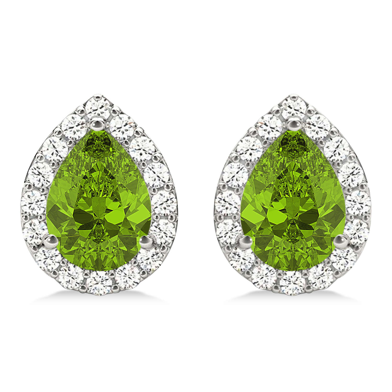 Teardrop Peridot & Diamond Halo Earrings 14k White Gold (1.64ct)
