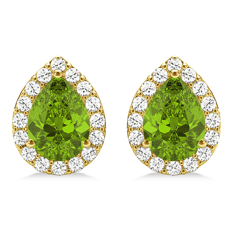 Teardrop Peridot & Diamond Halo Earrings 14k Yellow Gold (1.64ct)
