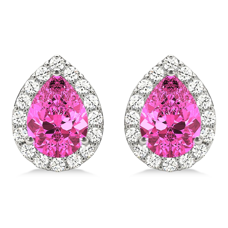 Teardrop Pink Sapphire & Diamond Halo Earrings 14k White Gold (1.74ct)