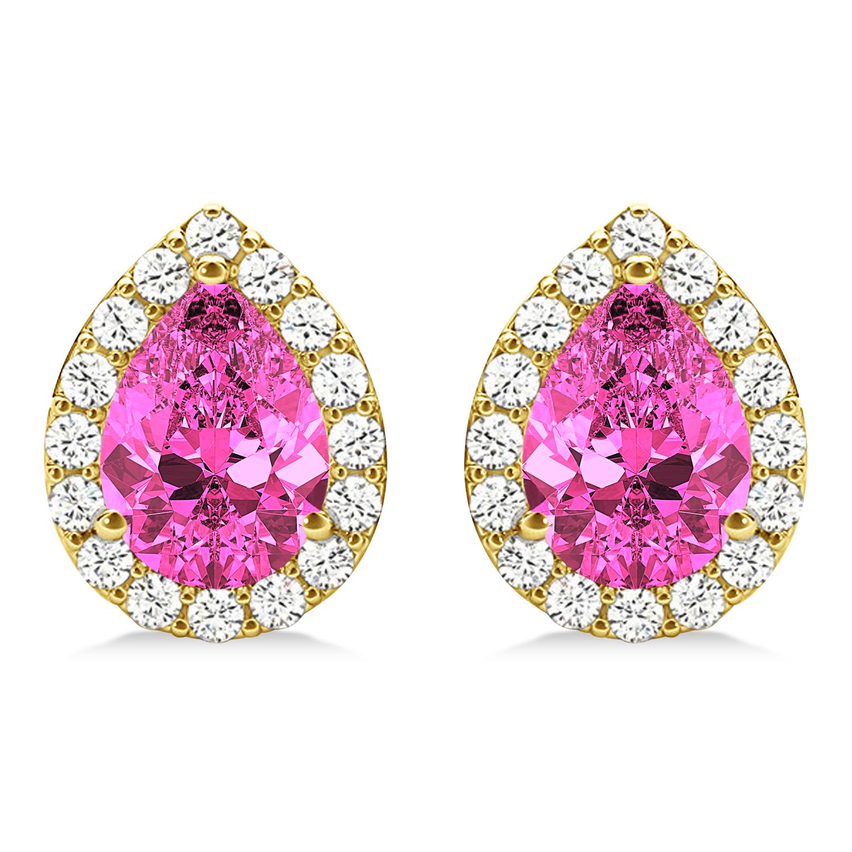 Teardrop Pink Sapphire & Diamond Halo Earrings 14k Yellow Gold (1.74ct)