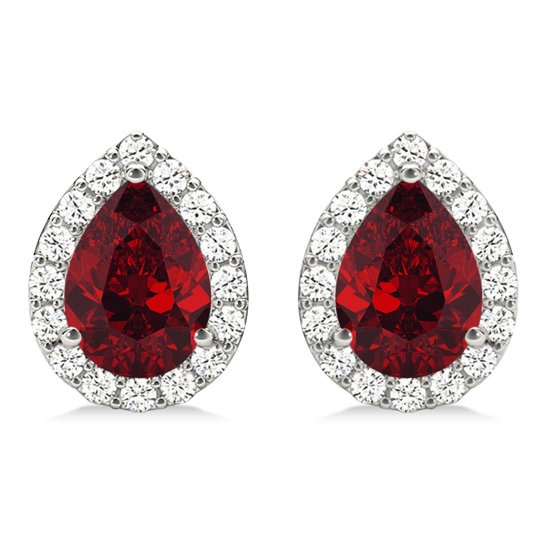 Teardrop Ruby & Diamond Halo Earrings 14k White Gold (1.74ct)
