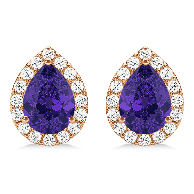Teardrop Tanzanite & Diamond Halo Earrings 14k Rose Gold (1.74ct)