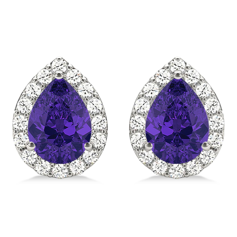 Teardrop Tanzanite & Diamond Halo Earrings 14k White Gold (1.74ct)