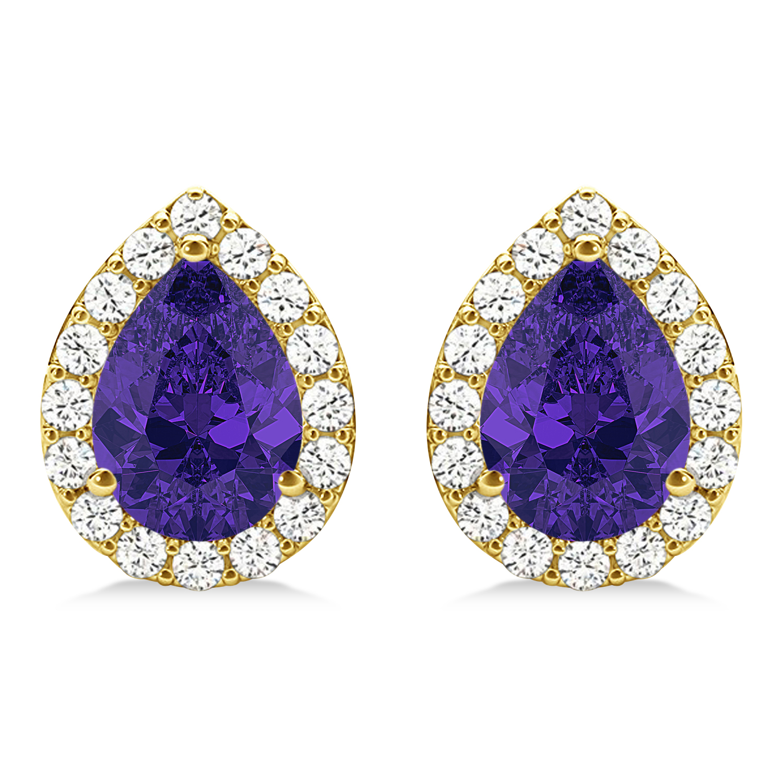 Teardrop Tanzanite & Diamond Halo Earrings 14k Yellow Gold (1.74ct)