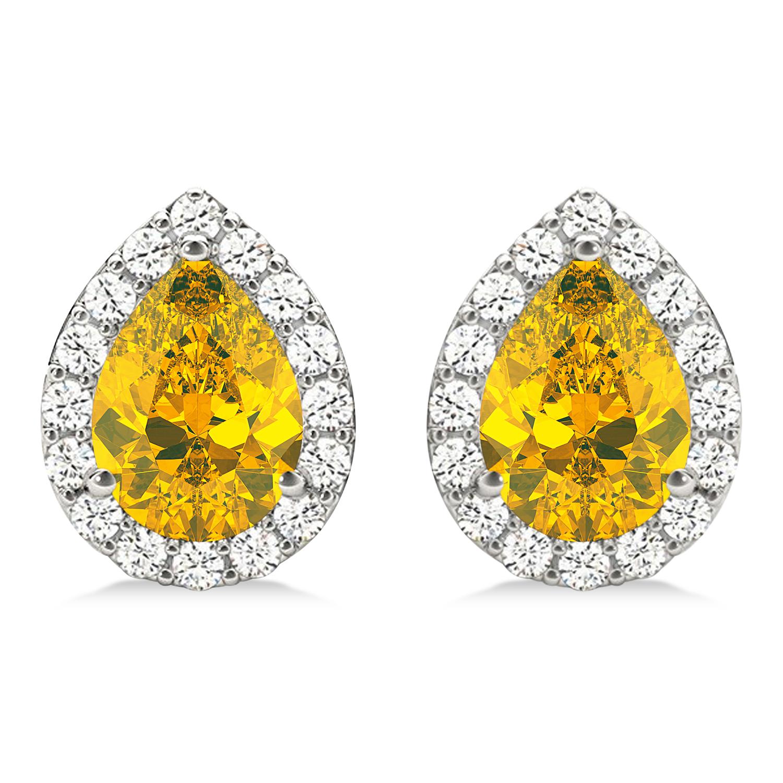 Teardrop Yellow Sapphire & Diamond Halo Earrings 14k White Gold (1.74ct)