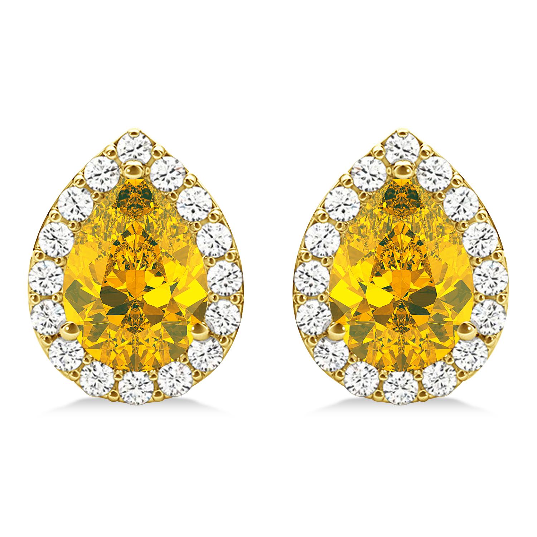 Teardrop Yellow Sapphire & Diamond Halo Earrings 14k Yellow Gold (1.74ct)