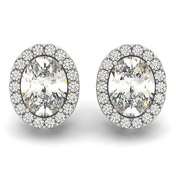 Oval-shape Diamond Halo Stud Earrings 14k White Gold (1.20ct)