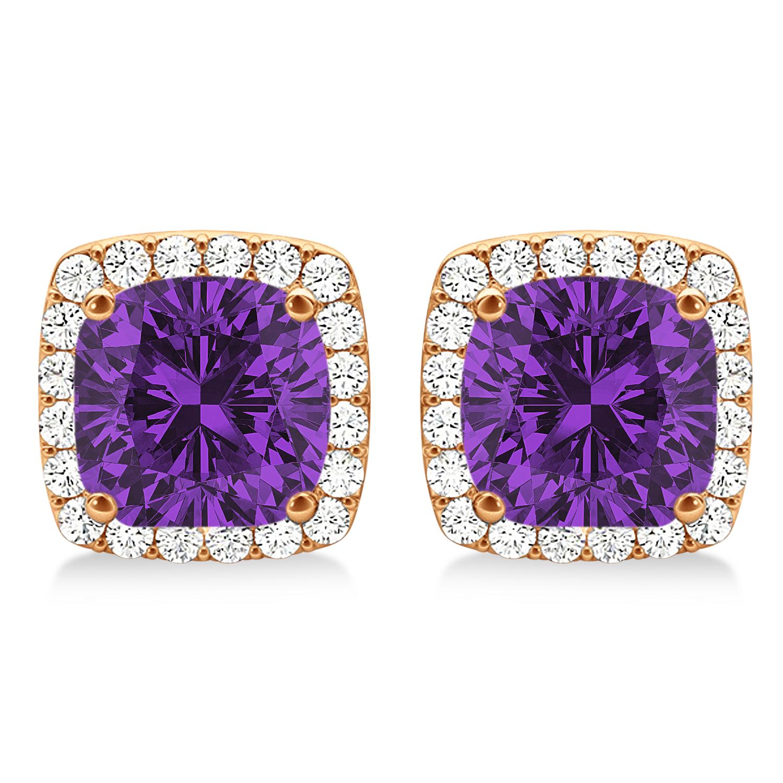 Cushion Cut Amethyst & Diamond Halo Earrings 14k Rose Gold (1.50ct)