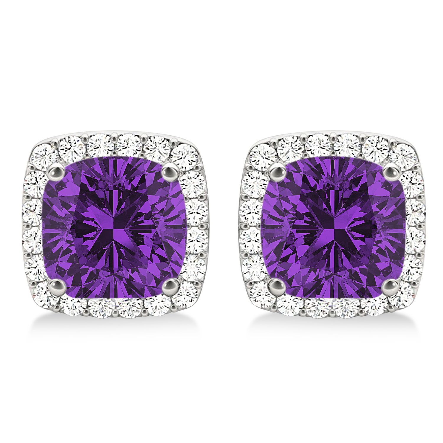 Cushion Cut Amethyst & Diamond Halo Earrings 14k White Gold (1.50ct)