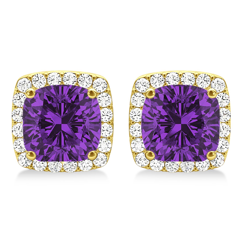 Cushion Cut Amethyst & Diamond Halo Earrings 14k Yellow Gold (1.50ct)
