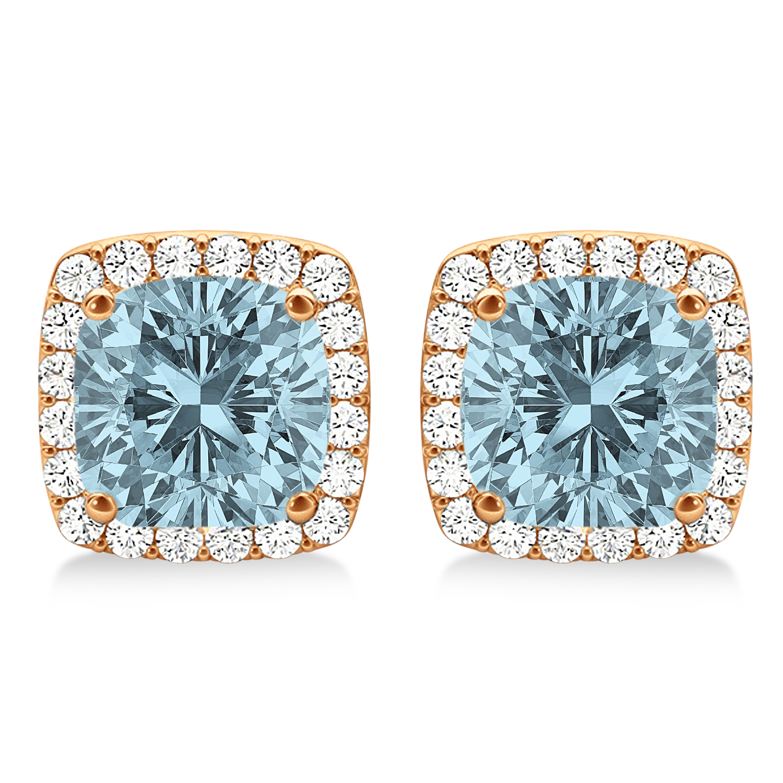 Cushion Cut Aquamarine & Diamond Halo Earrings 14k Rose Gold (1.50ct)