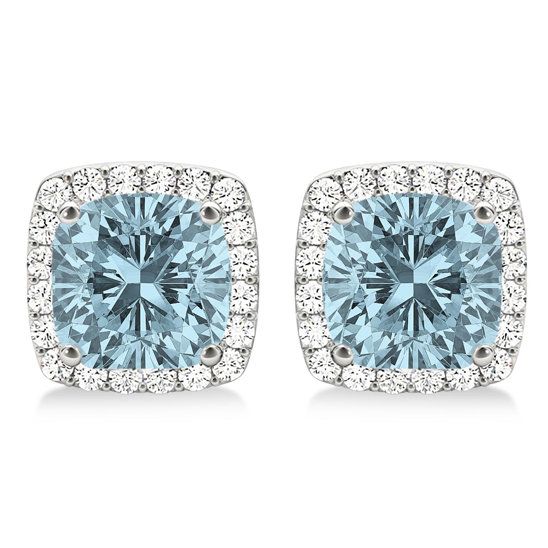Cushion Cut Aquamarine & Diamond Halo Earrings 14k White Gold (1.50ct)