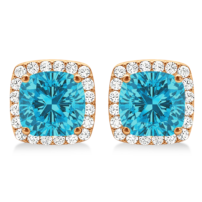 Cushion Cut Blue & White Diamond Halo Earrings 14k Rose Gold (1.22ct)