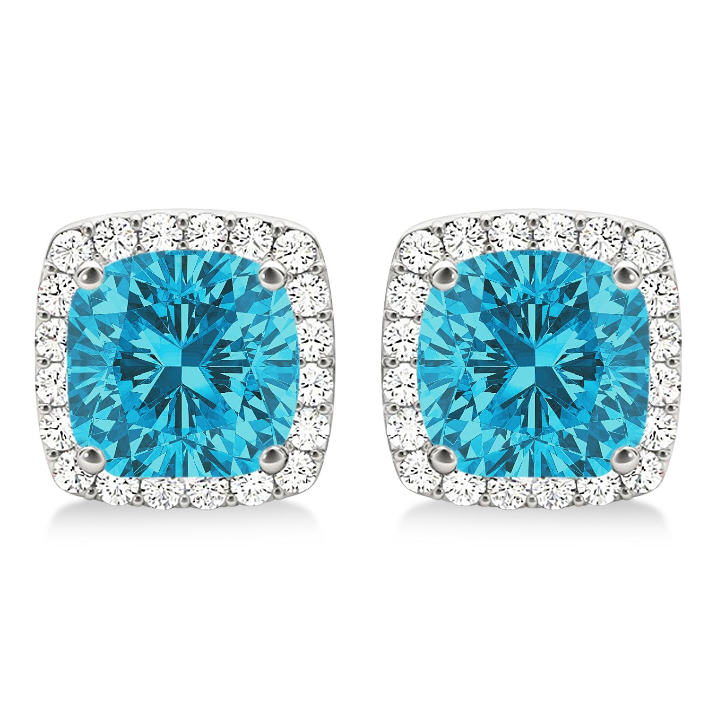 Cushion Cut Blue & White Diamond Halo Earrings 14k White Gold (1.22ct)