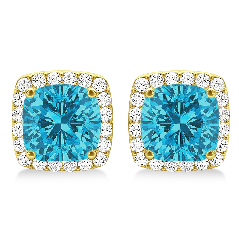 Cushion Cut Blue & White Diamond Halo Earrings 14k Yellow Gold (1.22ct)