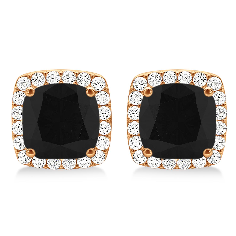 Cushion Cut Black & White Diamond Halo Earrings 14k Rose Gold (1.22ct)