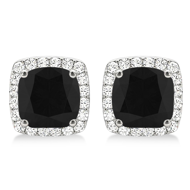 Cushion Cut Black & White Diamond Halo Earrings 14k White Gold (1.22ct)