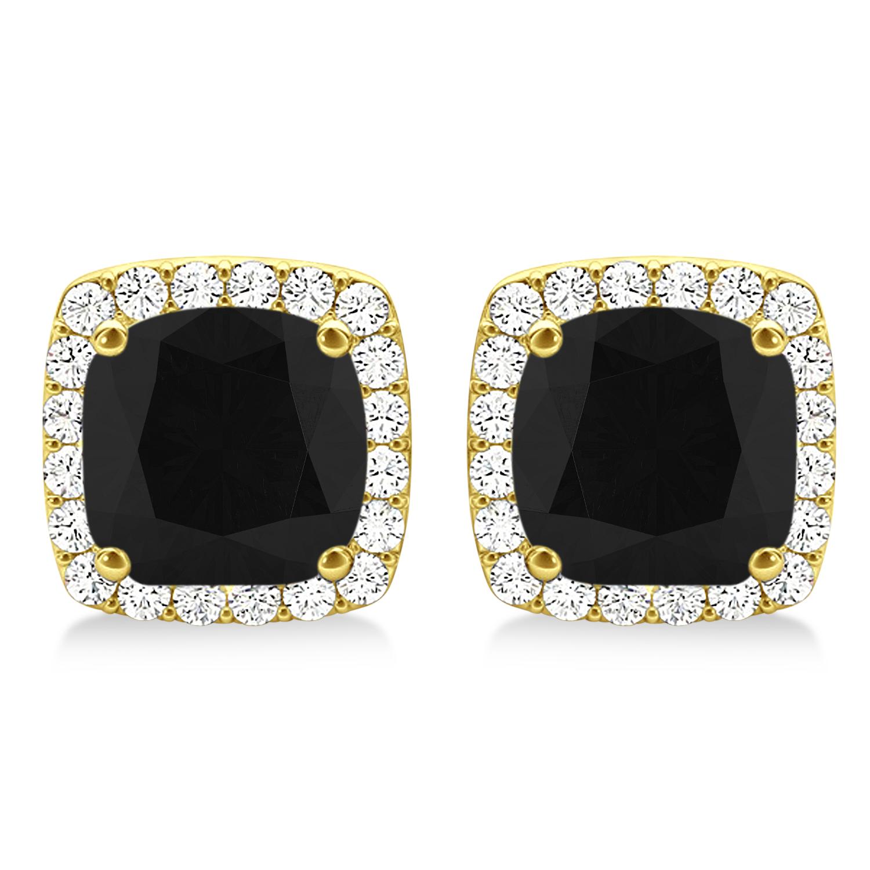 Cushion Cut Black & White Diamond Halo Earrings 14k Yellow Gold (1.22ct)
