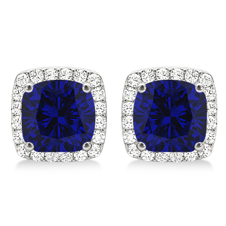 Cushion Cut Blue Sapphire & Diamond Halo Earrings 14k White Gold (1.50ct)