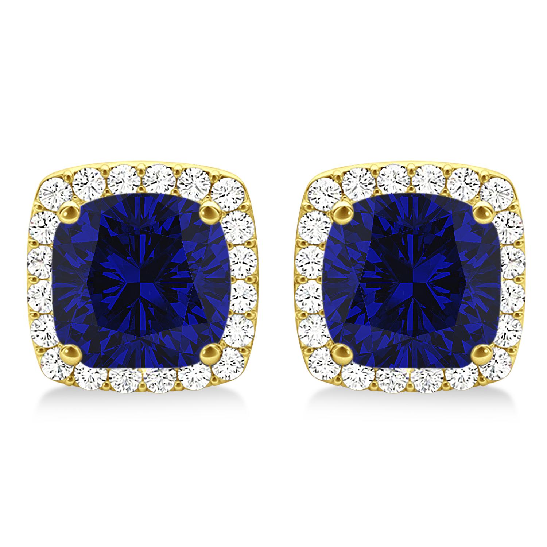 Cushion Cut Blue Sapphire & Diamond Halo Earrings 14k Yellow Gold (1.50ct)