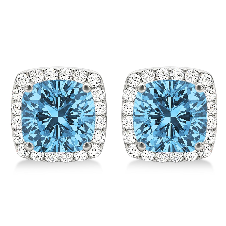 Cushion Cut Blue Topaz & Diamond Halo Earrings 14k White Gold (1.50ct)