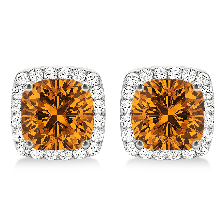 Cushion Cut Citrine & Diamond Halo Earrings 14k White Gold (1.50ct)